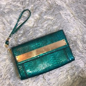 Gianni Bini Teal Alligator Clutch